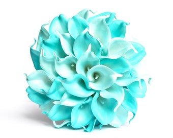 WEDDING BOUQUET TURQUOISE - Blue Turquoise Calla Lily Wedding Bouquet , Calla Lily Bridal Bouquet