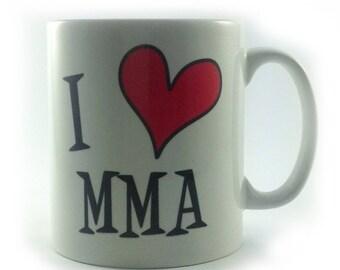 I Love MMA mug mixed martial arts gift cup present loveheart