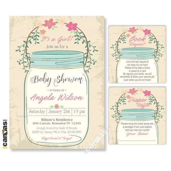 mason jar baby shower invitation it 39 s a girl rustic baby shower