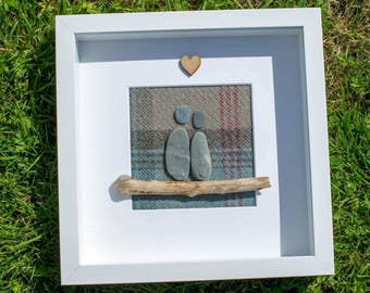 Love, Pebble Art Frame