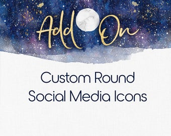Custom Social Media Icons , Round Icons , Logo Add On , Custom Icons, Watercolour Icons , Metallic Icons , Rose Gold Icons