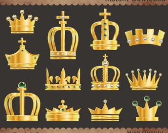 Gold Crowns Clipart, Crowns Printable, Crowns Clip Art, Royal Clipart, Digital Crown, Party Element, INSTANT DOWNLOAD