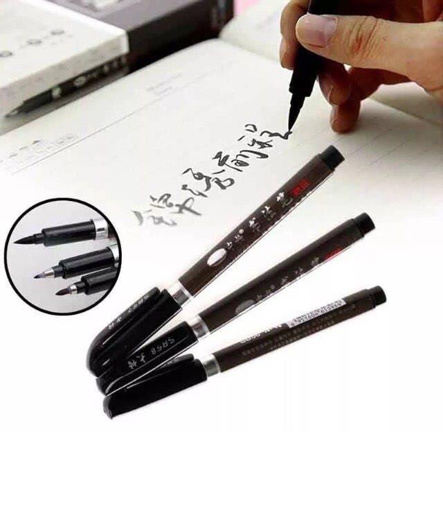 Black Calligraphy Pens Set Of 3 Drawing Pens