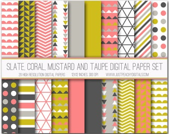 slate, coral and mustard modern digital scrapbook paper with geometric patterns