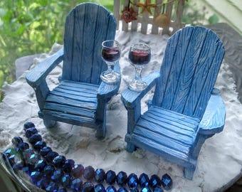 Adirondack Chairs Wine Glasses Beach Cake Topper Supplies
