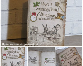 1 Handmade Alice in Wonderland Have a Wonderland Christmas Card - Gift,Xmas,Holidays