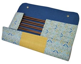 Large knitting needle case, blue and yellow, knitting needle organiser, needles holder, knitting, knitting needles
