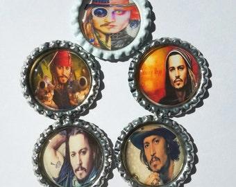 Set of 5 Johnny Depp Themed Finished Bottle Caps