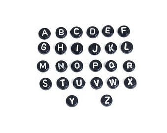 260 beads Alphabet letters black and white