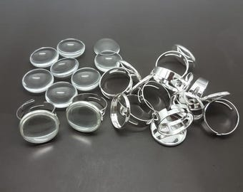 10 rings Support + 10 Cabochons 18mm glass Cabochon