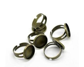20 media rings Bronze tray Cabochon 16mm