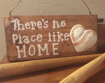 Wood Baseball signs There's no place like home sign Wooden baseball signs Sports nursery decor Sports signs Kids room decor
