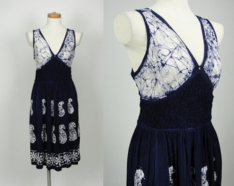 90s Vintage Multi-Texture Smock Sundress With Double Back Tie - Dress/ Small