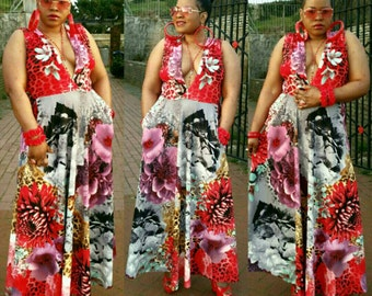 Plunge neckline floral maxi dress