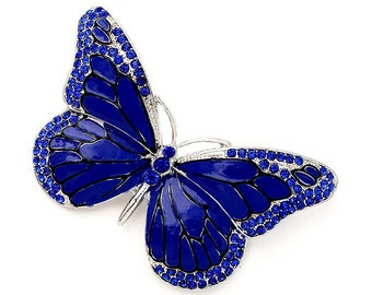 Butterfly Brooch, Blue Butterfly Pin, Cobalt Blue Wedding Broches, Something Blue Bridal, Royal Blue Brooches, Sapphire Dark Blue Broaches