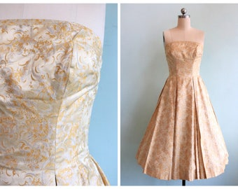 Vintage 1950's Gold Brocade Strapless Party Dress | Size Extra Small