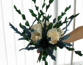 Thistles and roses paper bouquet, Crepe paper flower, Ivory rose, Greenery, Paper thistles,Bridal bouquet,Wedding roses bouquet,centerpieces