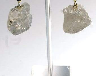Rough Smoky Quartz Earrings w/ Gold Plated Earwire (ER16BT)