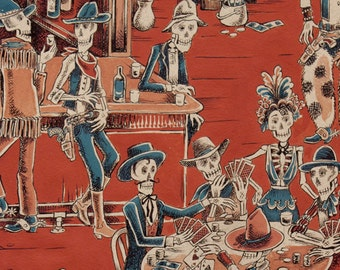 Deadwood saloon, fabric by the half yard, Alexander Henry, Toile skeletons, Cowboy, Quilt fabric, Red, Craft cotton, Skulls, Day of the dead