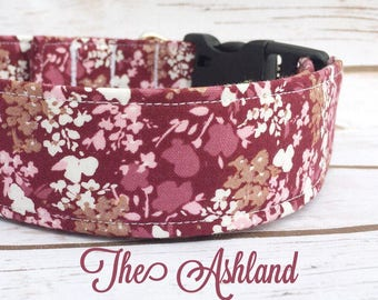 Floral Dog Collar, Burgandy Dog Collar, Trendy Dog Collar, Rose Gold Dog Collar, Feminine Dog Collar, Fashion Dog Collar, Vintage Dog Collar