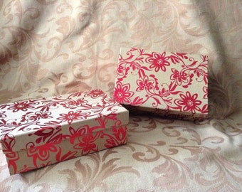 """Red Metallic Flowers Gift Box, Ornament Gift Box, Ornament Exchange Gift Box, FREE Shipping WITH Ornament Purchase 6.5 x 4.5"""""""