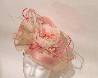 Ivory Hat hemmed Peony pink