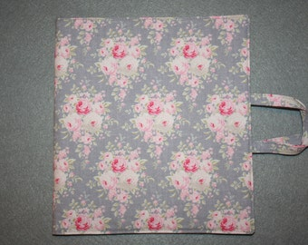 Art and activity bag, travel tote, pencil case with zip, drawing and note pad holders, A5. Tilda floral fabric, grey and pink.