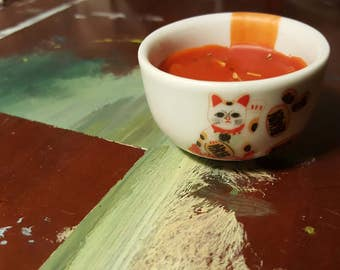 Organic Catnip & Sandalwood Candle w Beeswax in a Chinese Tea Cup. Cat Lover Gift