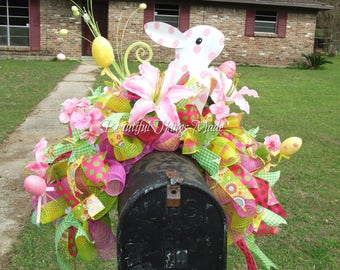 Large Easter mailbox topper, Easter mailbox swag, Easter mailbox Decoration, ready to ship