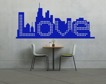 Skyline, Love, New York City,  Wall Art Vinyl Decal Sticker