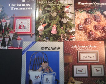 5 cross stitch booklets,Christmas Treasures, Santa, Stitch a Christmas Creation, Gingerbread Ornaments, Bear & Friend, Duck decoys FREE
