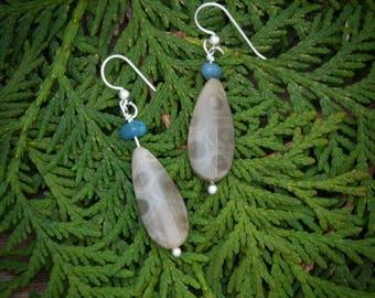 Petoskey stone jewelry, Petoskey stone earrings, Leland blue jewelry, Michigan jewelry, Leland blue earrings,