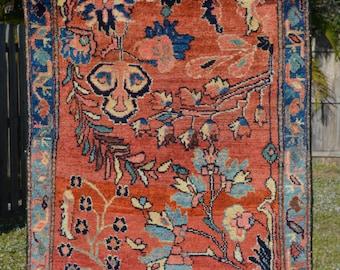 "Fine Antique Persian Rug // Size 2' 4"" x 3' 6"" // Terra cotta, Peach and Pale Blue"