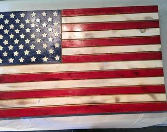 Wooden American Flag - Wall or Outdoor Decroative Wall Hanging