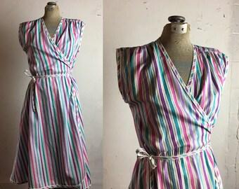 RESERVED FOR KALAISHA - Vintage Midi Wrap Dress  | small medium | S M | Retro | Seersucker | Blue Pink Purple Stripes | 1980's | 1970's