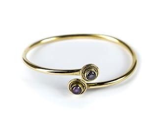 Boho Tribal Bangle Amethyst Gemstone Bracelet Adjustable Gift Boxed + Giftbag + Free UK Delivery BGA