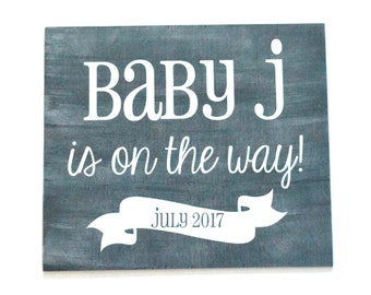 Pregnancy Announcement Prop: Baby on the Way! - Antiqued Gray - Baby Announcement Photo Prop - Maternity Photo Prop - Baby Shower Decor