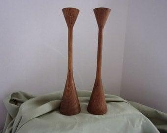 Mid-Century Turned Wood Candlesticks