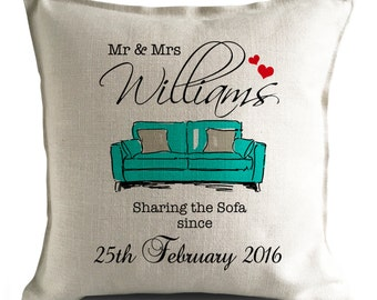 PERSONALISED 'Sharing the Sofa' Wedding anniversary Mr and Mrs Large Cushion Cover BLUE
