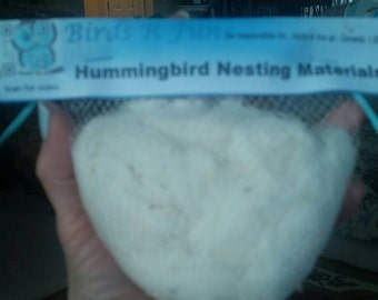 Hummingbird Nesting Material-100% Organic Raw Cotton Fibers-All Natural