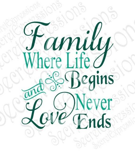 Family Where Life Begins Amp Love Never Ends Svg Family Svg