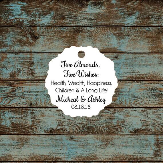 Italitan Wedding Favor Tags, Jordan Almond Favor Tags, Sugared Almond Favor Tags, Five Wishes Poem Favor Tags #655 Qty: 30 Tags