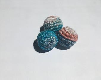 Crochet Cat Ball, Set of 3, Rattle Cat Toy, Ball with Rattle, Kitten Toy, Crochet Animal Toy with Rattle, Crochet Ball, Handmade Toy