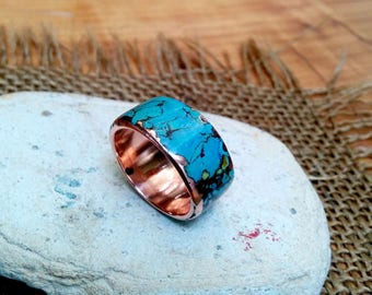 Marbled Turquoise Copper Ring Band.  8-14mm Wide Choice.