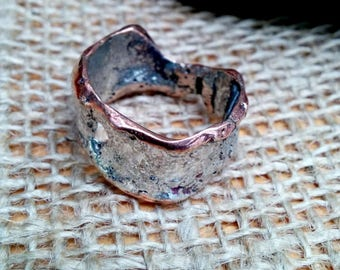 Molten Sterling Copper Ring Band.  6-13mm Irregular Wide.