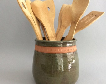 Green Earthenware Utensil Holder