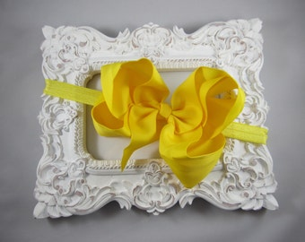 NEW OTT over the top yellow 6 inch hair bow stretch headband