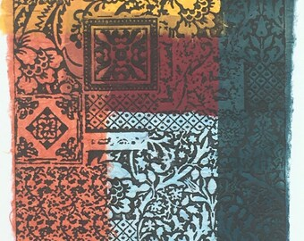 """Multicoloured """"fabric pattern"""" photo etching with chine collé"""