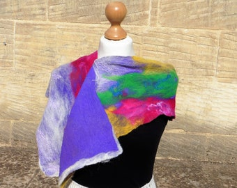 Multi coloured Nuno Felt Scarf