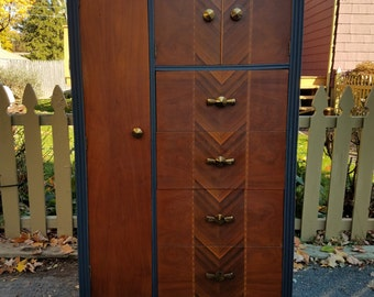 Hand Painted Antique Art Deco Armoir / Chifferobe / Wardrobe Closet - LOCAL PICKUP/DELIVERY Only